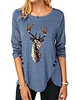 cheap -Women's Christmas Abstract Painting T shirt Reindeer Long Sleeve Button Print Round Neck Basic Christmas Tops Regular Fit Blue Purple Khaki