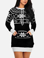 cheap -Women's Sweater Jumper Dress Short Mini Dress Blue Black Red Long Sleeve Snowflake Knitted Fall Winter Round Neck Ethnic Style Elegant Vintage Christmas Halloween 2021 S M L XL XXL