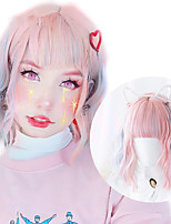 cheap -Brown Synthetic Lolita Lovely Bob wig Female Short Water Wave Pink Purple macaron wig band bangs heat resistant