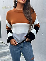 cheap -Women's Pullover Sweater Jumper Knitted Color Block Vintage Style Elegant Long Sleeve Regular Fit Sweater Cardigans Round Neck Fall Winter Brown