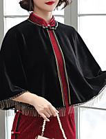 cheap -3/4 Length Sleeve Elegant Velvet Party Evening / Wedding Party Women's Wrap With Tassel