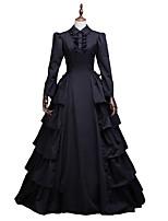 cheap -A-Line Elegant Vintage Halloween Quinceanera Dress Shirt Collar Long Sleeve Floor Length Cotton Blend with Buttons Ruffles 2021