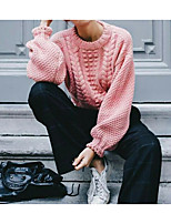 cheap -Women's Pullover Sweater Sweater Co-ords Knitted Braided Solid Color Casual Long Sleeve Regular Fit Sweater Cardigans Round Neck Fall Winter Blushing Pink