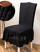 cheap -Stretch Kitchen Chair Cover Slipcover Jacquard for Dinning Party Black With Skirt Soft Comfortable Firm Elegant Chairs Covers
