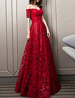 cheap -A-Line Glittering Elegant Engagement Formal Evening Dress Off Shoulder Short Sleeve Floor Length Lace with Pleats Sequin Pattern / Print 2021