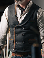cheap -Men's Vest Waistcoat Dailywear Euramerican Solid Colored Single Breasted Regular Fit Polyester Men's Suit Black - Shirt Collar