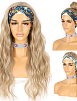 cheap -Wavy Headband Wig for Black Women Heat Resistant Body Wave Synthetic Headwraps Hair Glueless Wig Blonde New Fashion