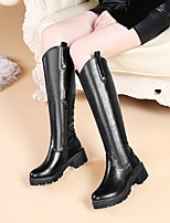 cheap -Women's Boots Block Heel Round Toe Knee High Boots Daily Work Faux Leather Solid Colored Light Brown Black