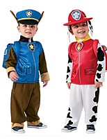 cheap -Firefighter Cosplay Costume Kid's Boys' Halloween Halloween Halloween Festival / Holiday Polyster Blue / Pink / Red Easy Carnival Costumes Solid Color / Dress / Hat