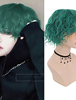 cheap -Men's Green Short Corn wave synthetic wig male boys cosplay anime daily party wig heat resistant
