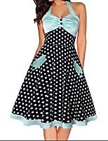cheap -Women's A Line Dress Knee Length Dress Blue Sleeveless Polka Dot Print Fall Strapless Casual 2021 S M L XL XXL