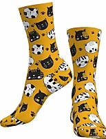 cheap -Socks Cycling Socks Men's Women's Bike / Cycling Breathable Soft Comfortable 1 Pair Cat Animal Cotton Black / Yellow S M L / Stretchy