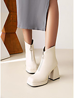 cheap -Women's Boots Flare Heel Square Toe Booties Ankle Boots Daily Work Faux Leather Solid Colored White Black / Booties / Ankle Boots