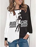 cheap -Women's Geometric T shirt Letter Long Sleeve Patchwork Print Round Neck Vintage Sexy Tops Black
