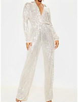 cheap -Jumpsuits Glittering Sparkle Wedding Guest Formal Evening Dress V Neck Long Sleeve Floor Length Sequined with Sleek 2021