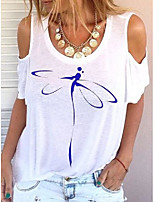 cheap -short sleeve floral-print cotton-blend animal shirts & tops
