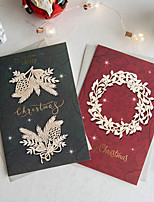 cheap -A Pair Of Premium Christmas Cards Small Cards Blessing Cards With Envelopes Christmas Holiday Gift Cards Christmas Eve Cards