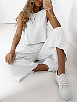 cheap -Women's Sweatsuit 2 Piece Crew Neck Solid Color Sport Athleisure Clothing Suit Sleeveless Breathable Soft Comfortable Everyday Use Street Casual Daily Outdoor / Summer