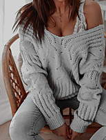 cheap -Women's Sweater Knitted Solid Color Stylish Casual Soft Long Sleeve Sweater Cardigans V Neck Fall Winter Blue Gray Khaki