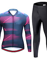 cheap -21Grams Men's Long Sleeve Cycling Jersey with Tights Spandex Blue Bike Quick Dry Moisture Wicking Sports Graphic Mountain Bike MTB Road Bike Cycling Clothing Apparel / Stretchy / Athletic
