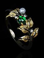 cheap -Women Ring AAA Cubic Zirconia Retro Gold / Black Brass Floral Theme Elegant Vintage European 1pc / Women's