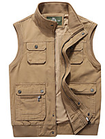 cheap -Men's Vest Daily Fall Winter Regular Coat Regular Fit Thermal Warm Sporty Jacket Sleeveless Solid Color Quilted Khaki Green