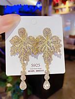 cheap -Women's Earrings Chandelier Floral Theme Leaf Luxury Silver Earrings Jewelry Gold For Party Wedding Daily