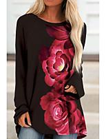 cheap -Women's Floral Theme T shirt Floral Long Sleeve Print Round Neck Basic Tops Regular Fit Blue White Black