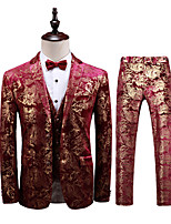 cheap -Men's Wedding Suits 3 pcs Shawl Collar Tailored Fit Single Breasted Two-buttons Patch Pocket Patterned Cotton