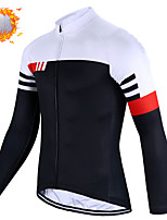 cheap -CAWANFLY Men's Long Sleeve Cycling Jersey Cycling Jacket Winter Black+White Geometic Bike Tracksuit Winter Jacket Top Thermal Warm Fleece Lining Sports Clothing Apparel / Micro-elastic / Athleisure