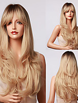 cheap -Synthetic Wig Natural Wave Deep Wave With Bangs Wig 24 inch Light Blonde Synthetic Hair Women's Natural Classic New Arrival Dark Brown Gold Blonde Ombre