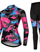 cheap -21Grams Women's Long Sleeve Cycling Jersey with Tights Spandex Black / Red Blue / Black Camo / Camouflage Bike Quick Dry Moisture Wicking Sports Camo / Camouflage Mountain Bike MTB Road Bike Cycling