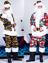 cheap -Santa Suit Cosplay Costume Adults' Men's Christmas Christmas Christmas Festival / Holiday Terylene Green / Red Men's Easy Carnival Costumes Camo / Camouflage / Top / Pants / Hat / Waist Belt