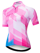 cheap -21Grams Women's Short Sleeve Cycling Jersey Summer Spandex Pink 3D Bike Top Mountain Bike MTB Road Bike Cycling Quick Dry Moisture Wicking Sports Clothing Apparel / Stretchy / Athleisure