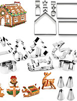 cheap -Cookie Cutters For Gingerbread House Template Mold, 18 Pcs Ginger Breadman House Cutter Kit Christmas For Cute Kids