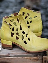 cheap -Women's Boots Chunky Heel Round Toe PU Solid Colored Dark Brown Yellow