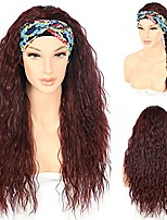 cheap -Burgundy Loose Curly Headband Wig for Women 26 Inches Long Deep Wave Glueless None Lace Wigs Daily Ware Dark Wine Red Synthetic Wig Easy To Ware with Magic Tape 130% Density