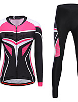 cheap -21Grams Women's Long Sleeve Cycling Jersey with Tights Spandex Pink / Black Bike Quick Dry Moisture Wicking Sports Graphic Mountain Bike MTB Road Bike Cycling Clothing Apparel / Stretchy / Athletic