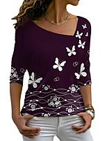cheap -Women's Butterfly Painting T shirt Graphic Butterfly Long Sleeve Print V Neck Basic Tops Regular Fit Blue Purple Green / 3D Print