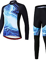 cheap -21Grams Women's Long Sleeve Cycling Jersey with Tights Spandex Polyester Blue Funny Bike Clothing Suit 3D Pad Quick Dry Moisture Wicking Breathable Back Pocket Sports Graphic Mountain Bike MTB Road