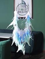 cheap -Boho Dream Catcher Handmade Gift Wall Hanging Decor Art Ornament Craft 2 Circles Bead Feather For Kids Bedroom Wedding Festival