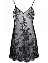 cheap -Women's Breathable Sexy Bodies Home Date Transparent Print Pure Color Polyester Fashion See Through Fall Winter Spring V Wire Sleeveless Not Specified / Summer / 1 pc