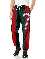 cheap -Men's Casual Fashion Breathable Sports Pants Sweatpants Casual Daily Pants Christmas Full Length Elastic Drawstring Design Print Rainbow