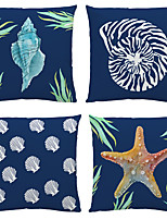 cheap -Sea Double Side Cushion Cover 4PC Soft Decorative Square Throw Pillow Cover Cushion Case Pillowcase for Bedroom Livingroom Superior Quality Machine Washable Indoor Cushion for Sofa Couch Bed Chair