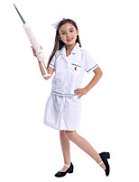cheap -Nurse Cosplay Costume Kid's Girls' Halloween Halloween Halloween Festival / Holiday Polyster White Easy Carnival Costumes Solid Color / Blouse / Skirt / Hat