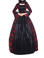 cheap -Ball Gown Elegant Vintage Halloween Quinceanera Dress Square Neck Long Sleeve Floor Length Satin with Bow(s) Pattern / Print 2021