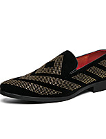 cheap -Men's Loafers & Slip-Ons Casual Daily Party & Evening PU Black Color Block Fall Spring / Rhinestone