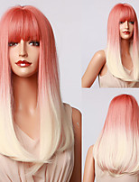 cheap -HAIR CUBE Orange Red White Ombre Long Synthetic Wigs With Bangs Natural Straight Wigs for Women Cosplay Heat Resistant Wig