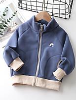 cheap -Kids Unisex Coat Long Sleeve Blue Blushing Pink Gray Plain Zipper Pocket Active Adorable 2-8 Years / Fall / Winter