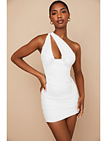 cheap -Sheath / Column Minimalist Sexy Homecoming Cocktail Party Dress One Shoulder Sleeveless Short / Mini Polyster with Pattern / Print 2021